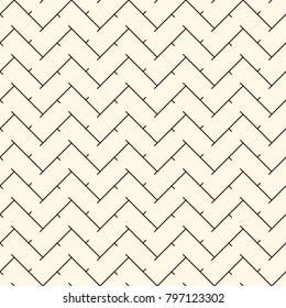 Chevron diagonal stripes abstract background. Retro style seamless pattern with classic geometric ornament. Outline zigzag lines wallpaper. Digital paper, textile print, page fill. Vector art