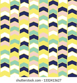 Chevron hand drawn seamless vector pattern. Arrows teal green, yellow, blue, pink, white abstract background. Children repeating backdrop. For fabric, wallpaper, kids decor, web banner, digital paper