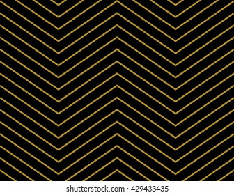 Chevron pattern wallpaper design in gold and black. Seamless vector texture paper background.