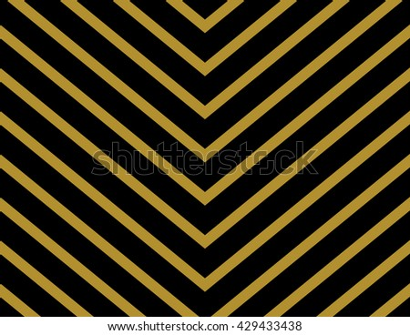 Chevron Pattern Wallpaper Design In Gold And Black Seamless Vector Texture Paper Background