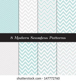 """Chevron Patterns in Aqua Blue, White and Silver Gray. Pattern Swatches made with Global Colors. Matches my other """"Modern White Christmas Backgrounds"""" Image ID: 128027708, 118541659."""