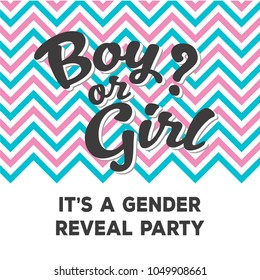Chevron Pink and Blue Gender Reveal Party Invitation