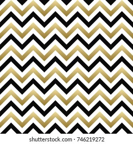 Chevron seamless pattern. Vector black, gold and white zigzag background. For Christmas design