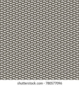 Chevron wool fabric pattern texture. White, elongated and twisted forms, repeated in oblique direction on a dark brown background. Abstract vector.