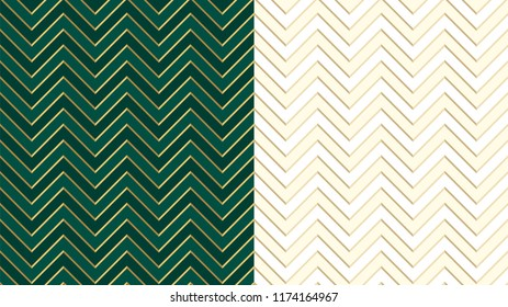 Chevron zig zag emerald (dark green) seamless pattern with golden lines. Cute ivory background in light halftone. Herringbone vector backdrop. Gold festive stripes. Sharp and jagged waves. Luxury VIP