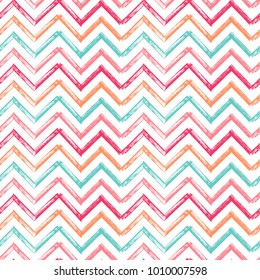 Chevron Zigzag Paint Brush Strokes Seamless pattern. Vector Abstract Grunge Colorful background