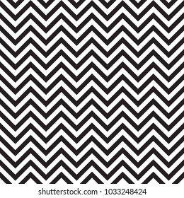 Chevron zigzag seamless pattern of parallel lines. Geometric wave. Seamless background with horizontal black and white stripes in zigzag. Vector illustration.