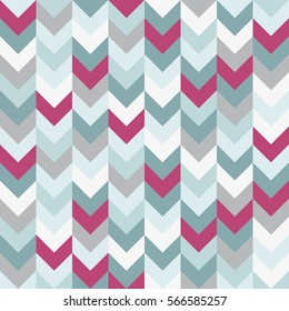 Chevron zigzag seamless pattern vector background arrows geometric design in mixed order colorful white pink light blue grey aqua