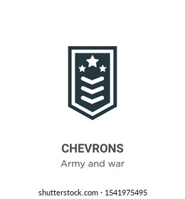 Chevrons vector icon on white background. Flat vector chevrons icon symbol sign from modern army and war collection for mobile concept and web apps design.