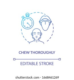 Chew thoroughly concept icon. Conscious nutrition, mindful eating idea thin line illustration. Tasting food essence, enjoying meal. Vector isolated outline RGB color drawing