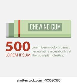 Chewing gum in flat design. Vector Illustration