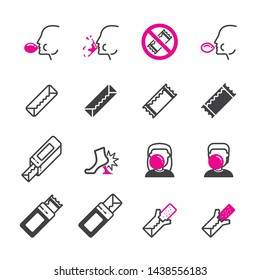 chewing gum icon set/Flat icon set design, Out line vector icon set for design.