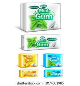 Chewing gum packaging mint and citrus 3d realistic vector set