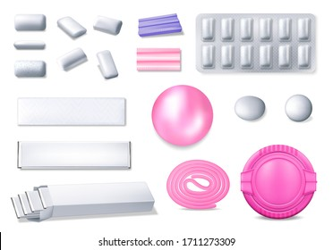 Chewing gum realistic 3d vector set. Isolated bubble gum in foil packages, blister and plastic box. Pads, balls and roll of white, pink and purple colors. Mint flavor taste cud, dental care chew icons