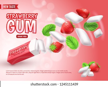 Chewing gum with strawberry and green leaves on blurred red gradient background advertising composition realistic vector illustration