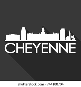 Cheyenne Flat Icon Skyline Silhouette Design City Vector Art Famous Buildings