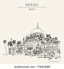 Chhatrapati Shivaji Maharaj Vastu Sangrahalaya (former Prince of Wales museum) in Mumbai (Bombay), India. British colonial architecture sketch, palm trees. Travel vintage hand drawn postcard. Vector