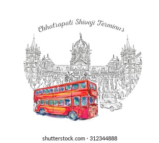 Chhatrapati Shivaji Terminus and red bus an historic railway station in Mumbai, Maharashtra, India. Vector illustration