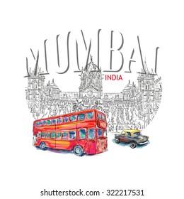 Chhatrapati Shivaji Terminus and red bus an historic railway station in Mumbai, Maharashtra, India. Vector illustration