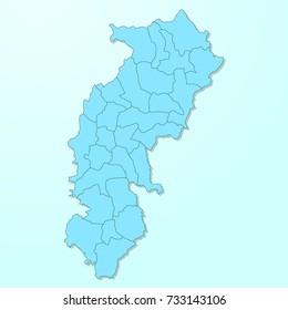 Chhattisgarh blue map on degraded background vector