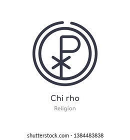 chi rho outline icon. isolated line vector illustration from religion collection. editable thin stroke chi rho icon on white background