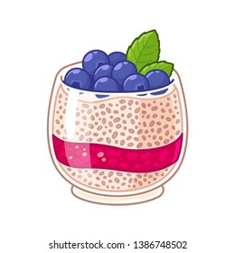 Chia seed pudding in glass with fresh blueberries and raspberry jam layer. Healthy superfood breakfast, fruit parfait dessert vector illustration.