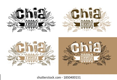 Chia seeds superfood logo template options with handwritten calligraphy lettering composition and ribbon in doodle style. Healthy food. vector.