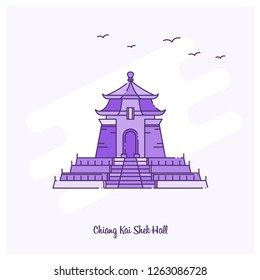 CHIANG KAI SHEK HALL Landmark Purple Dotted Line skyline vector illustration