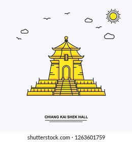 CHIANG KAI SHEK HALL Monument Poster Template. World Travel Yellow illustration Background in Line Style with beauture nature Scene