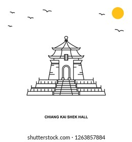 CHIANG KAI SHEK HALL Monument. World Travel Natural illustration Background in Line Style