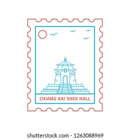 CHIANG KAI SHEK HALL postage stamp Blue and red Line Style, vector illustration