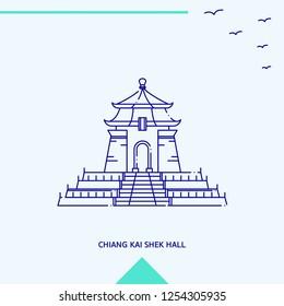 CHIANG KAI SHEK HALL skyline vector illustration