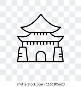 Chiang Kai Shek Memorial Hall vector icon isolated on transparent background, Chiang Kai Shek Memorial Hall logo concept
