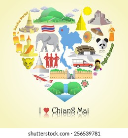 Chiang Mai love. Set vector icons and symbols in form of heart