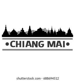 Chiang Mai Skyline Silhouette City Vector Design Art