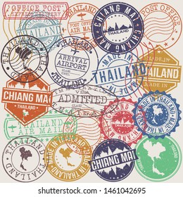 Chiang Mai Thailand Set of Stamps. Travel Stamp. Made In Product. Design Seals Old Style Insignia.