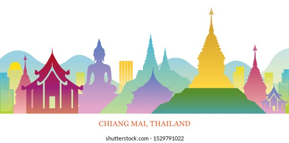 Chiang Mai, Thailand Skyline Landmarks Colorful Silhouette Background, Famous Place and Historical Buildings, Travel and Tourist Attraction