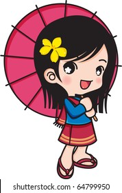 Chiangmai girl smiling with umbrella, illustrator Vector