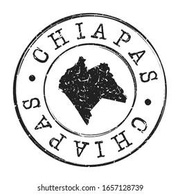 Chiapas, Mexico Map Postmark. A Silhouette Postal Passport. Stamp Round Vector Icon. Vintage Postage Designs.