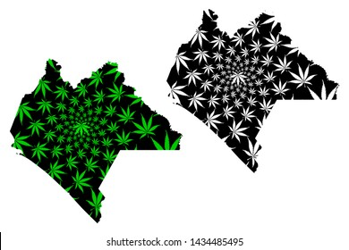 Chiapas (United Mexican States, Mexico, federal republic) map is designed cannabis leaf green and black, Free and Sovereign State of Chiapas map made of marijuana (marihuana,THC) foliage