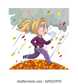 Chibi girl goes in for sports. Character design in manga comics and anime cartoons style. Young active woman runs outdoors in autumn. Vector illustration isolated on white background.