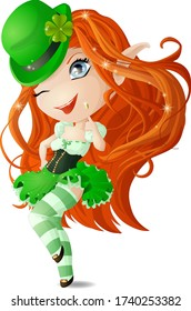 Chibi girl in a green dress and hat with a gold coin in her hands. Vector illustration.