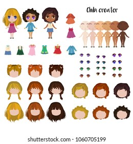 Chibi girl maker. Japanese anime character creator. Face and body elements. Different skin colour. Hair, clothes and eyes variations. Vector illustration set.
