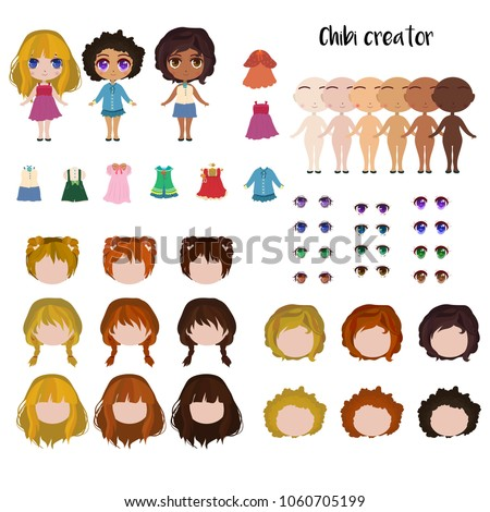 Chibi Girl Maker Japanese Anime Character Creator Face And Body Elements Different Skin
