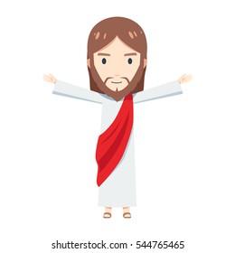 Chibi Jesus Christ is raising his hand so wide
