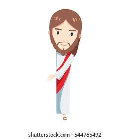 Chibi Jesus Christ is standing behind a blank space