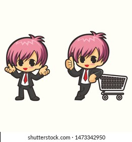 chibi man character for shoping and business mascot