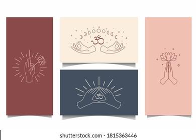 Chic background yoga symbol logo set with hand, moon, star, lotus flower