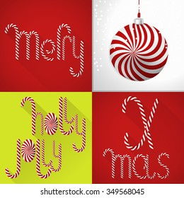 A chic Christmas card in a contemporary tile design, Lolli font and ball. Colorful, festive, bright and sweet. A perfect fit for print production (posters, T-shirts, actions etc.)