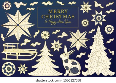 Chic Christmas Greeting Card with stars, winter trees and rabbit. Rectangle Frame Banner and Modern Typography.